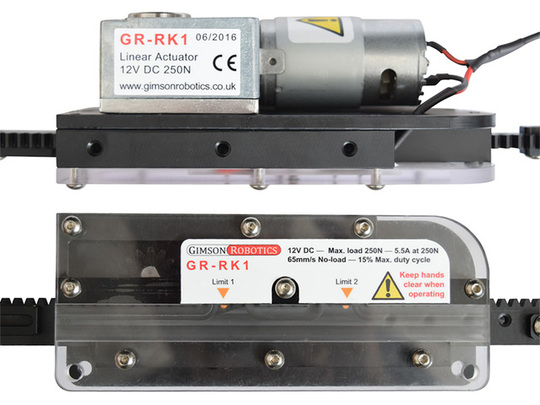 GR-RK1 Adjustable Length Rack & Pinion Linear Actuator, 12V DC, 250N
