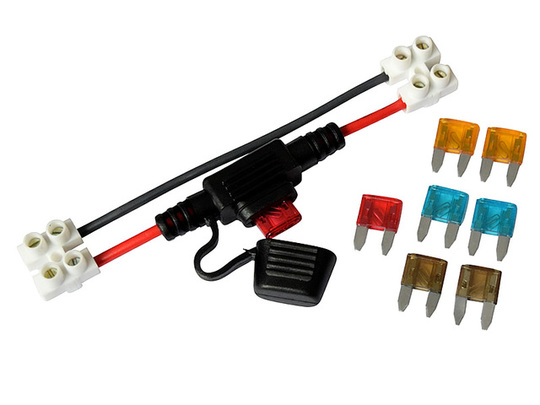 In-Line Mini Blade Fuse Holder, with Set of Automotive Fuses