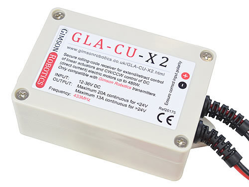 Gla cu x2 controller motor overview 20a 12v 24v 36v dc switch 433mhz rolling code lid closeup3